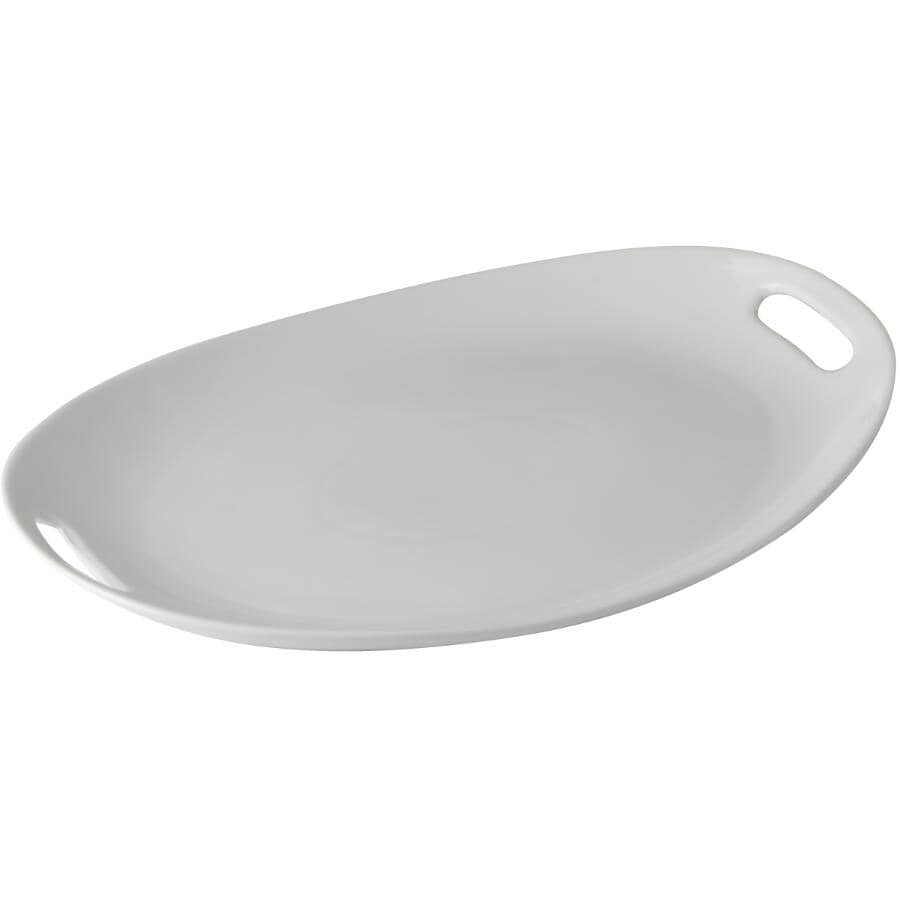 MAISON PLUS:White Oval Serving Tray - with Handles