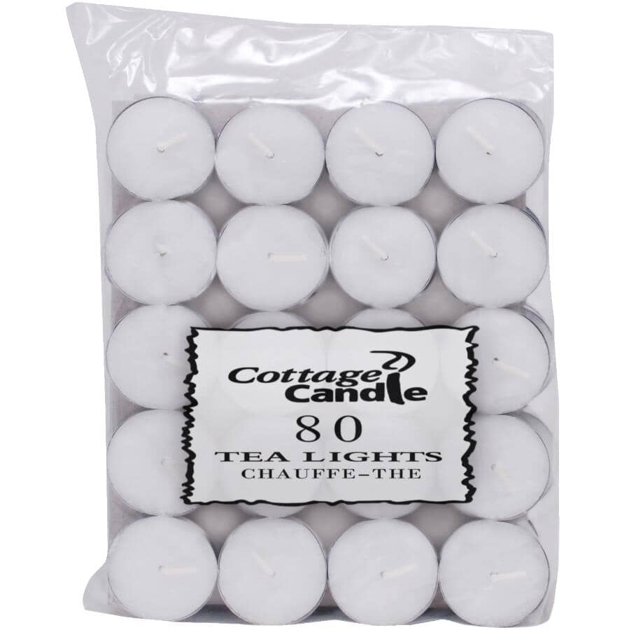 COTTAGE CANDLE:Tealight Candles - White, 80 Pack