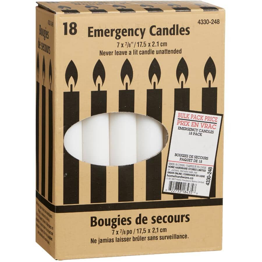 """GENERIC:Emergency Wax Candles - 7"""", 18 Pack"""