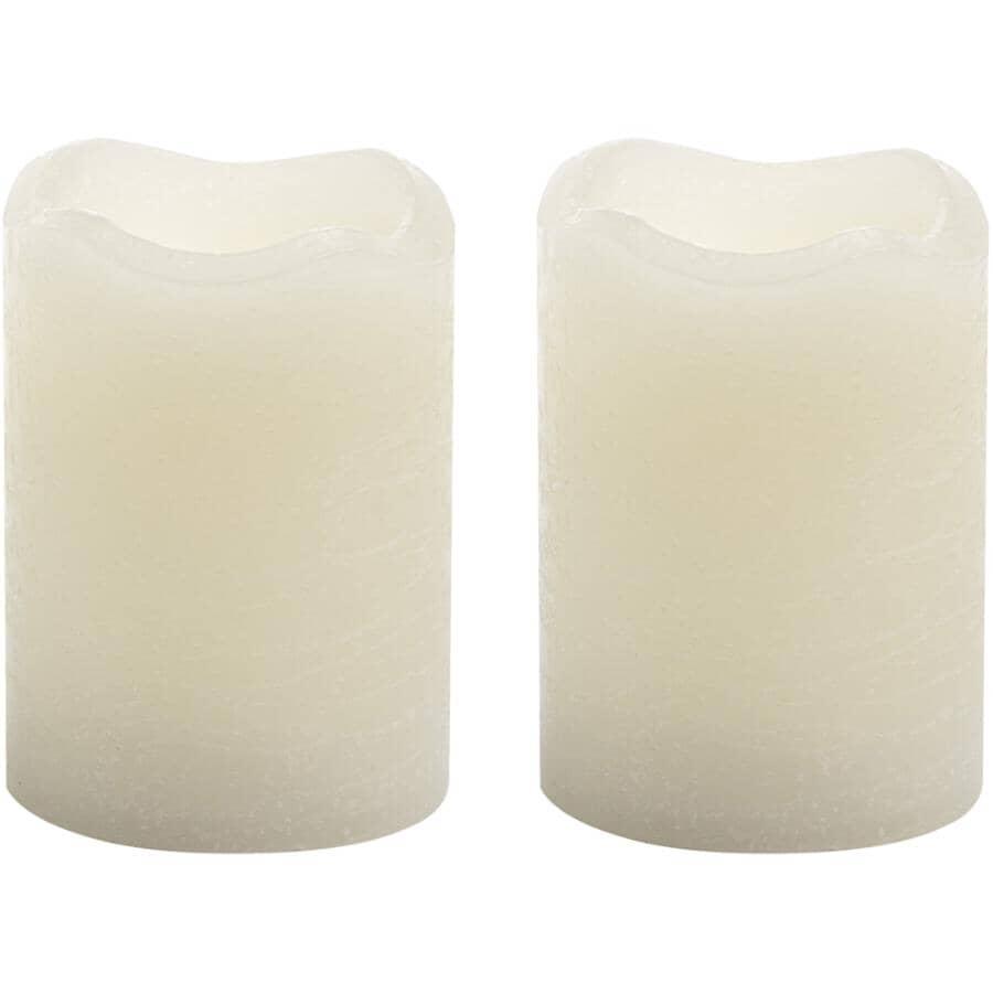 INGLOW:Paquet de 2 chandelles courtes à DEL crème, 2 po x 2,5 po