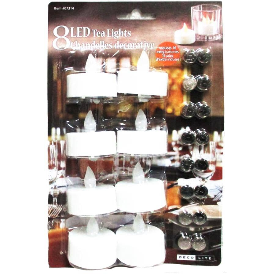 DECO LITE:LED Tealight Candles - White, 8 Pack