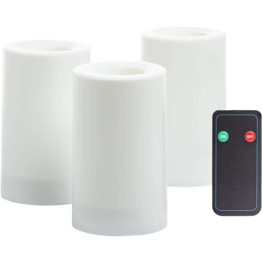 INGLOW:Paquet de 3 chandelles cylindriques à DEL sans flamme pour extérieur, blanc, 3 x 5 po