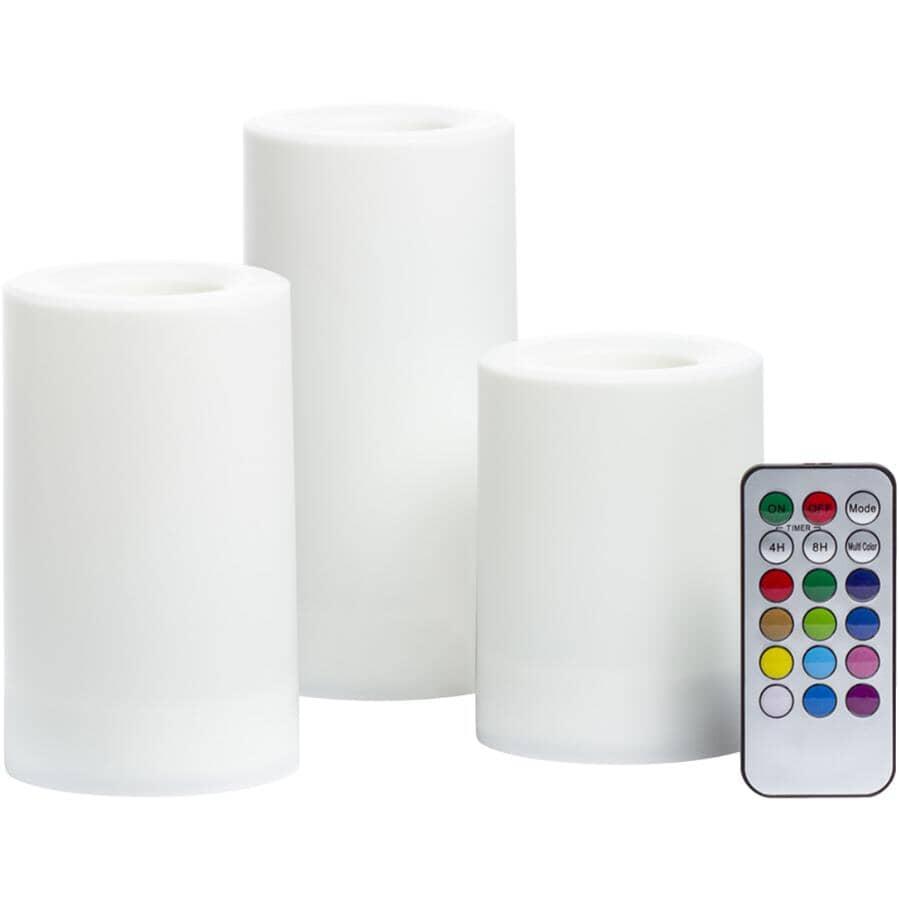 INGLOW:Paquet de 3 chandelles cylindriques à DEL sans flamme pour extérieur, couleur changeante