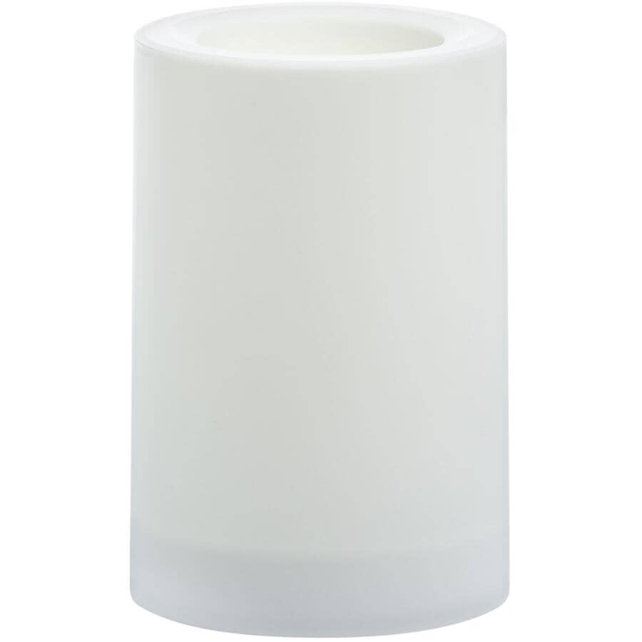 """INGLOW:LED Flameless Outdoor Pillar Candle - White, 4"""" x 6"""""""
