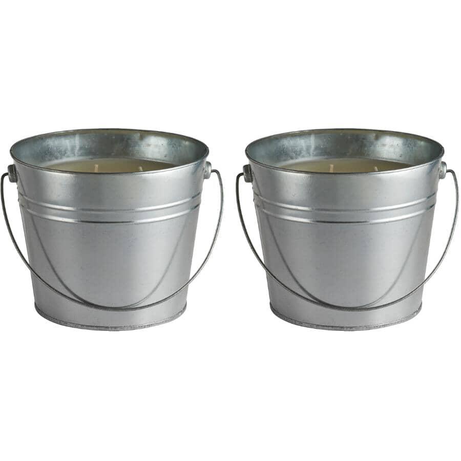 SIERRA CANDLES:Paquet de 2 chandelles de 5 po à la citronnelle dans un seau