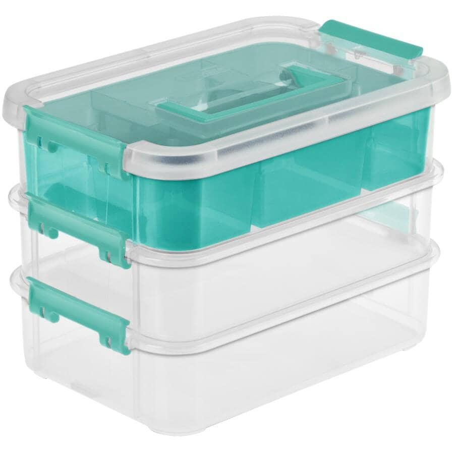 STERILITE:3 Layer Stack and Carry Storage Box, with Handle
