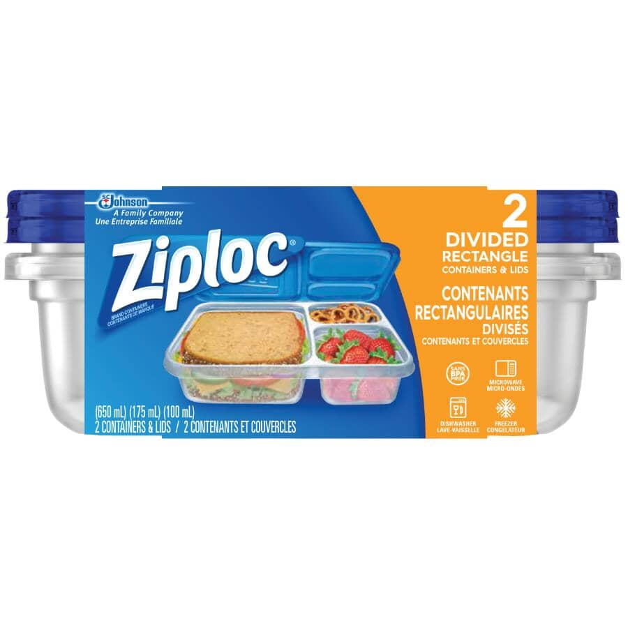 ZIPLOC:2 Pack 925mL Disposable Rectangular Food Containers