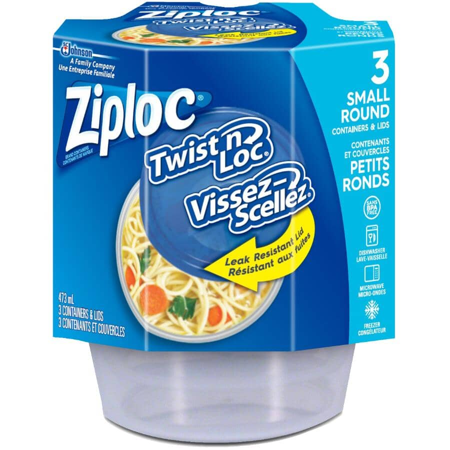 ZIPLOC:3 Pack 473mL Twist N Lock Disposable Food Containers