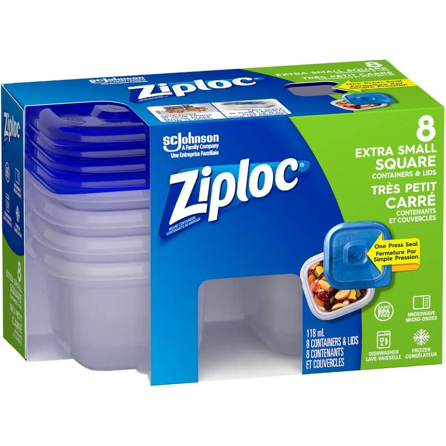 ZIPLOC:8 Pack 118mL Extra Small Disposable Square Food Containers