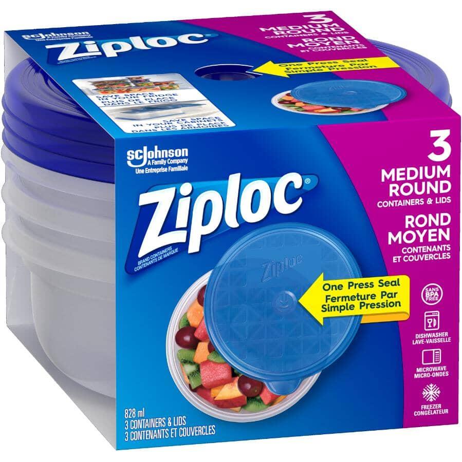 ZIPLOC:3 Pack 828mL Medium Disposable Round Food Containers