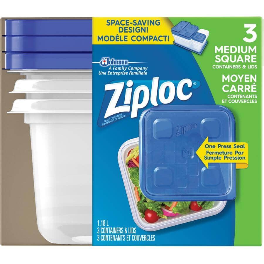 ZIPLOC:3 Pack 1180mL Medium Disposable Square Food Containers