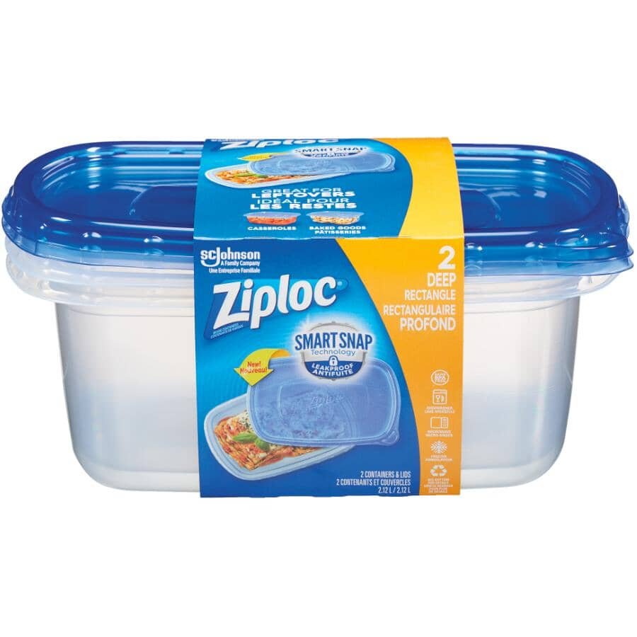 ZIPLOC:2 Pack 2120mL Large Disposable Rectangular Food Containers