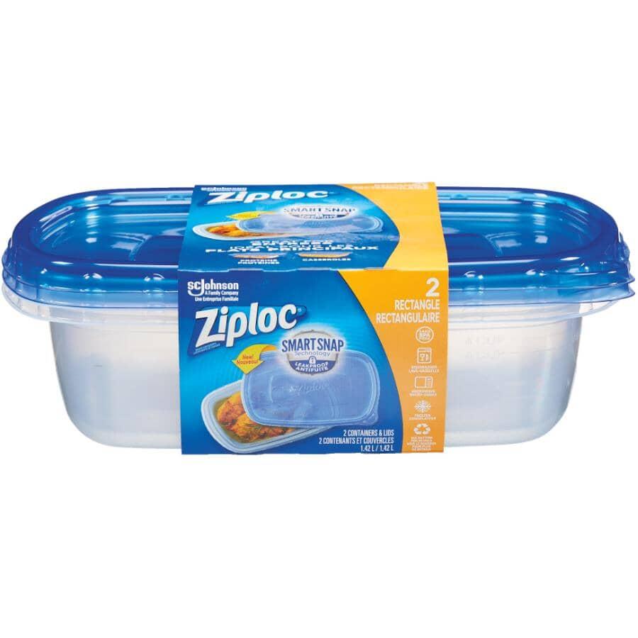 ZIPLOC:Large Rectangular Food Containers - 1.42 L, 2 Pack