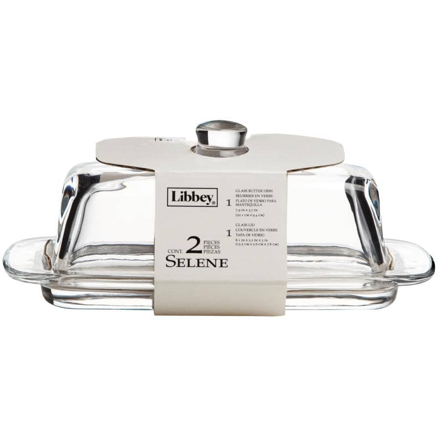 LIBBEY:Selene Glass Butter Dish, with Cover