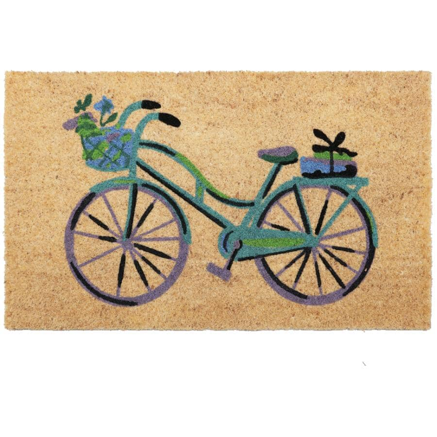 """FOOTLUZE:18"""" X 30"""" Bicycle Blue Coir Door Mat, with Rubber Back"""