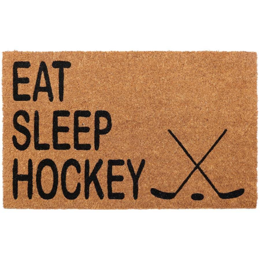"FOOTLUZE:18"" x 30"" Eat Sleep Hockey Coir Door Mat"