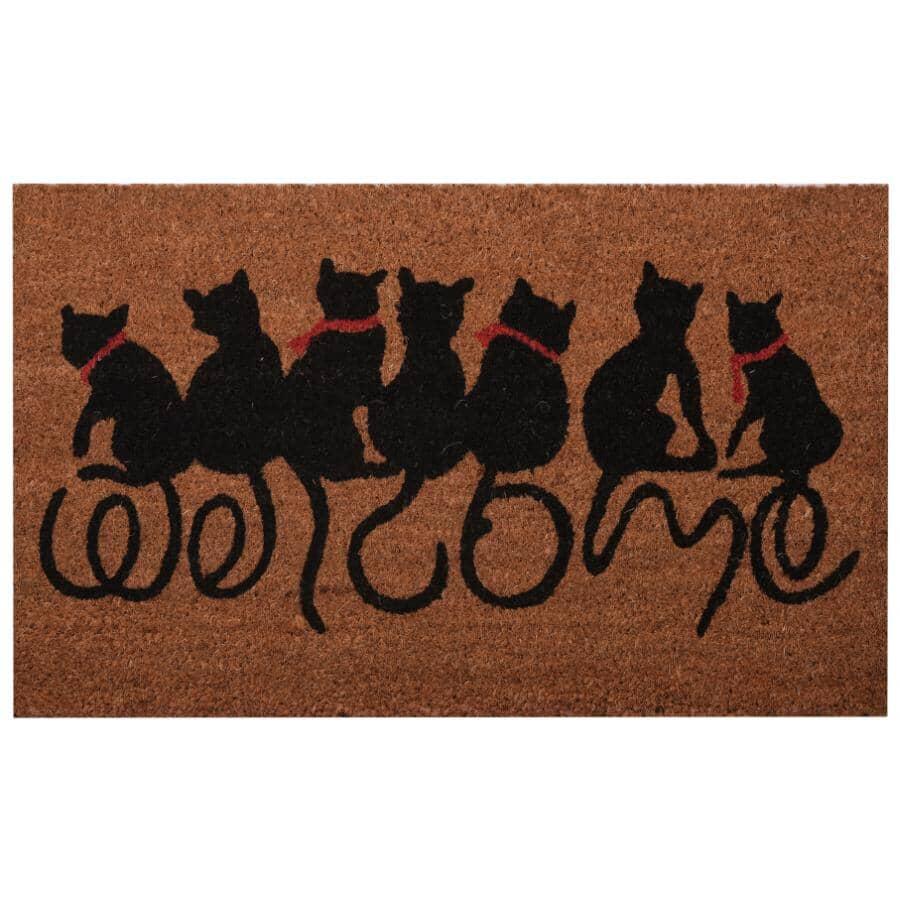 """FOOTLUZE:18"""" x 30"""" Cat Tales Coir Door Mat"""