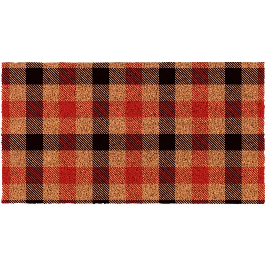 """FHE:Printed Plaid Coir Door Mat - with Rubber Back, 18"""" x 30"""""""