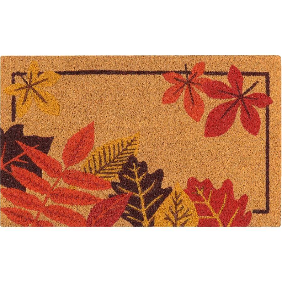 """FLOOR CHOICE:Autumn Leaves Coir Door Mat - with Vinyl Back, 18"""" x 30"""""""
