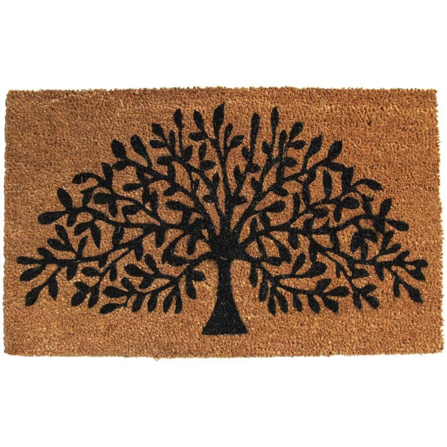 "FOOTLUZE:18"" X 30"" Tree of Life Coir Door Mat, with Rubber Back"