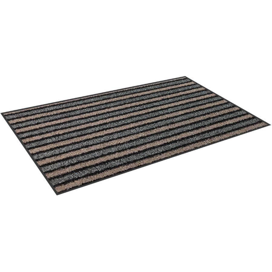 "TECHNOFLEX:Sani-Mat Door Mat - Moka Striped, 100% Antibacterial, 35.5"" x 48"""