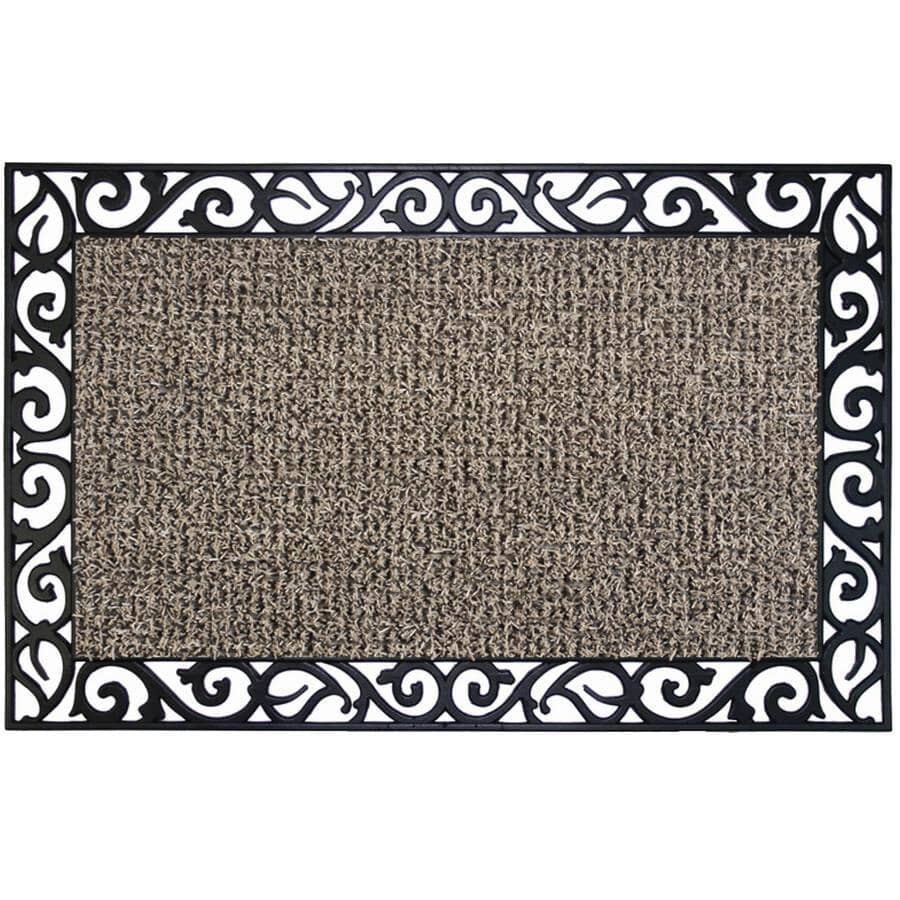 """CLEAN MACHINE:18"""" x 30"""" Earth Taupe Wrought Iron Stems and Leaves Astro Turf Door Mat"""
