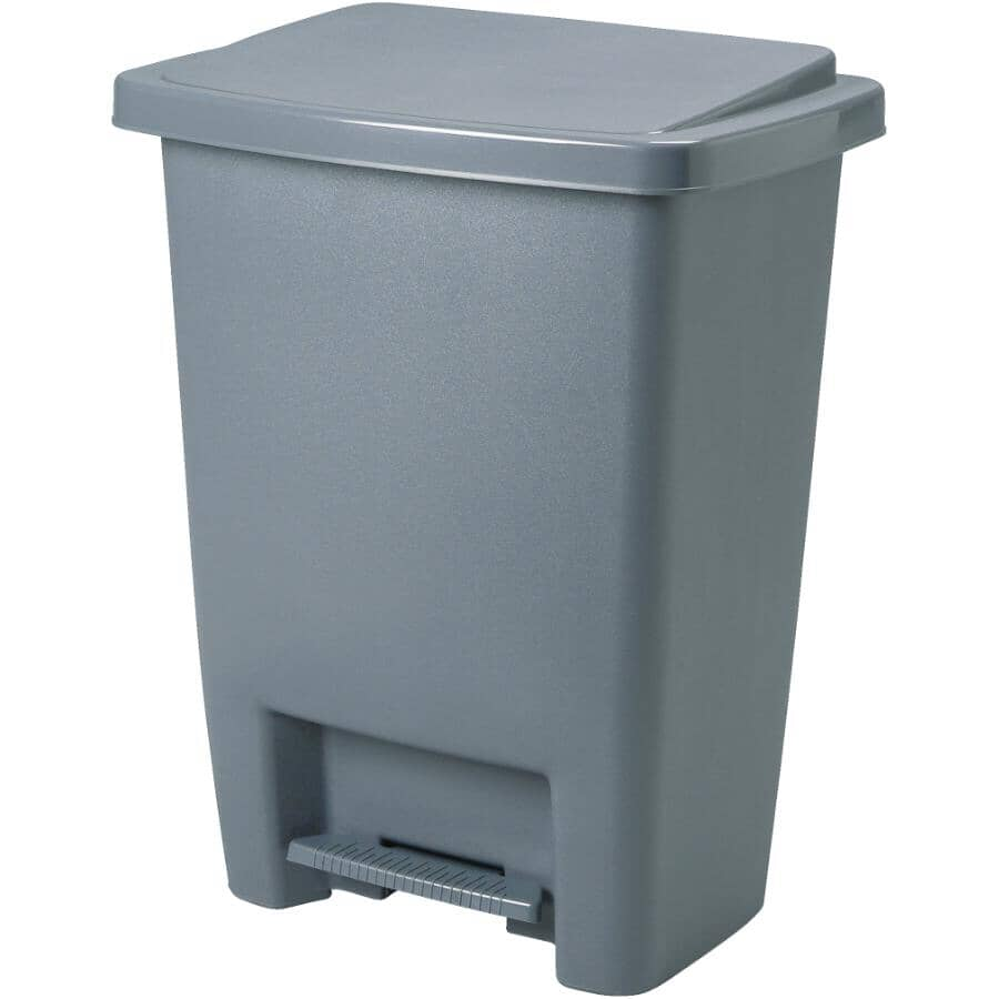 RUBBERMAID:Step-On Garbage Can - Grey, 31.2 L