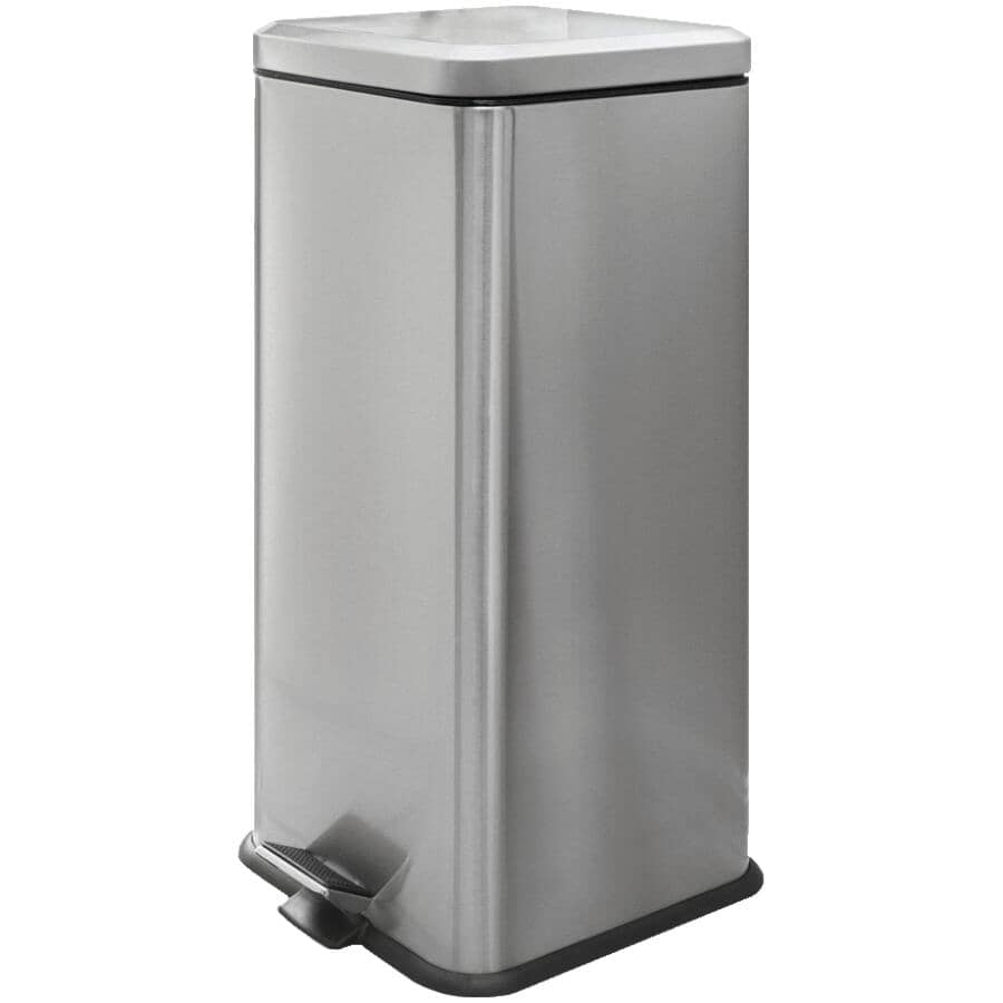 HOMEWARES:30L Stainless Steel Square Step-On Garbage Can