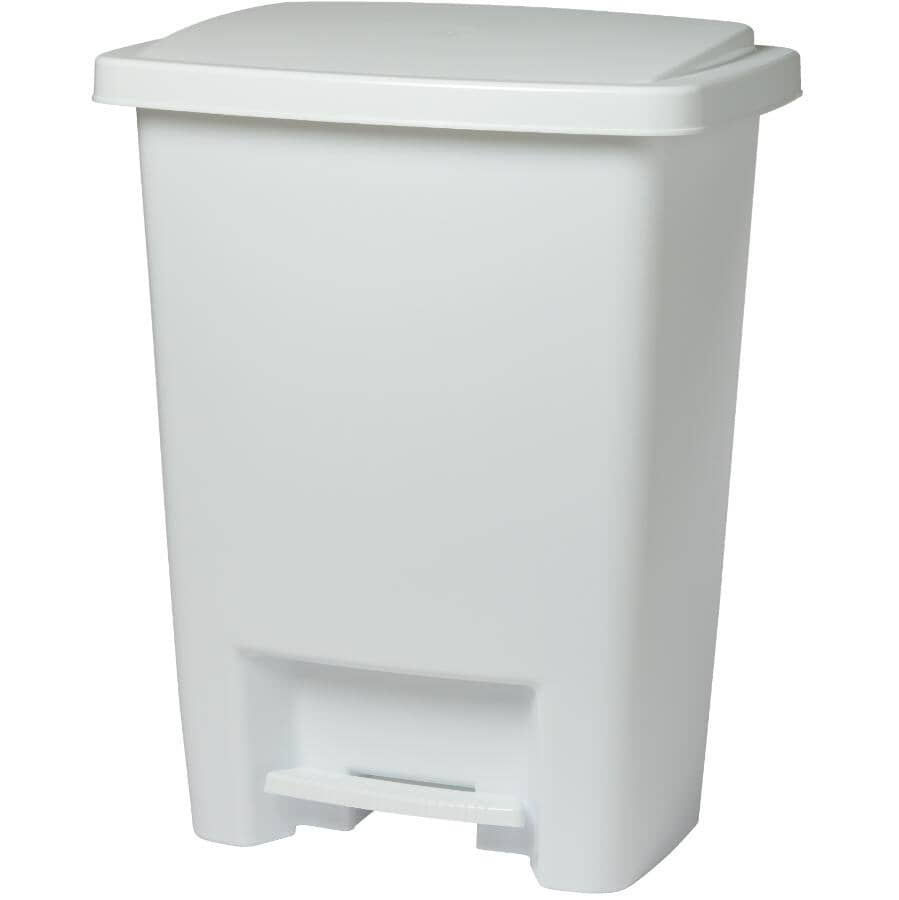RUBBERMAID:Step-On Garbage Can - White, 31.2 L