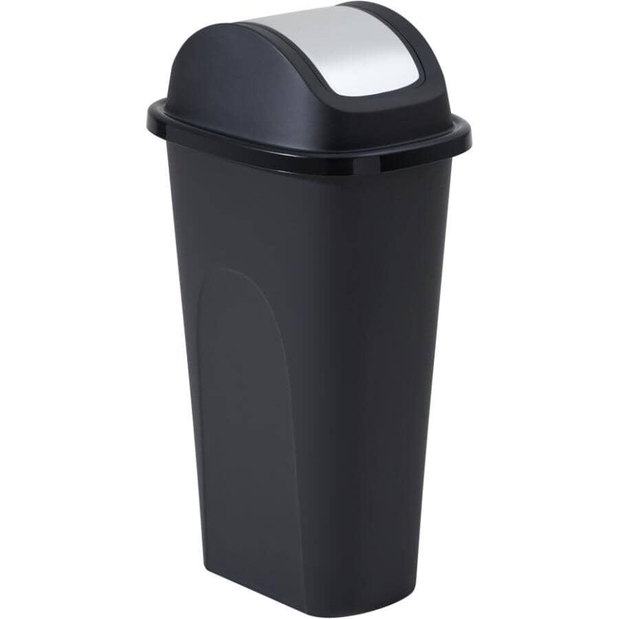 KIS:Slim Garbage Can with Stainless Steel Lid - Black, 42 L