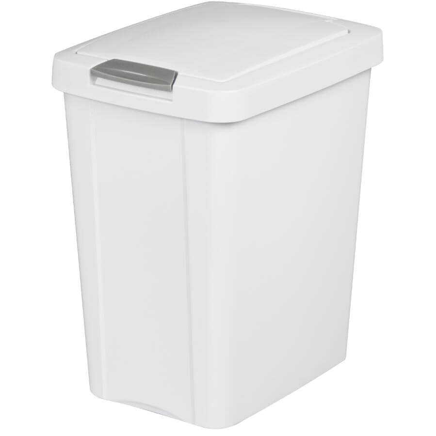 STERILITE:Touch-Top Garbage Can - White, 28 L