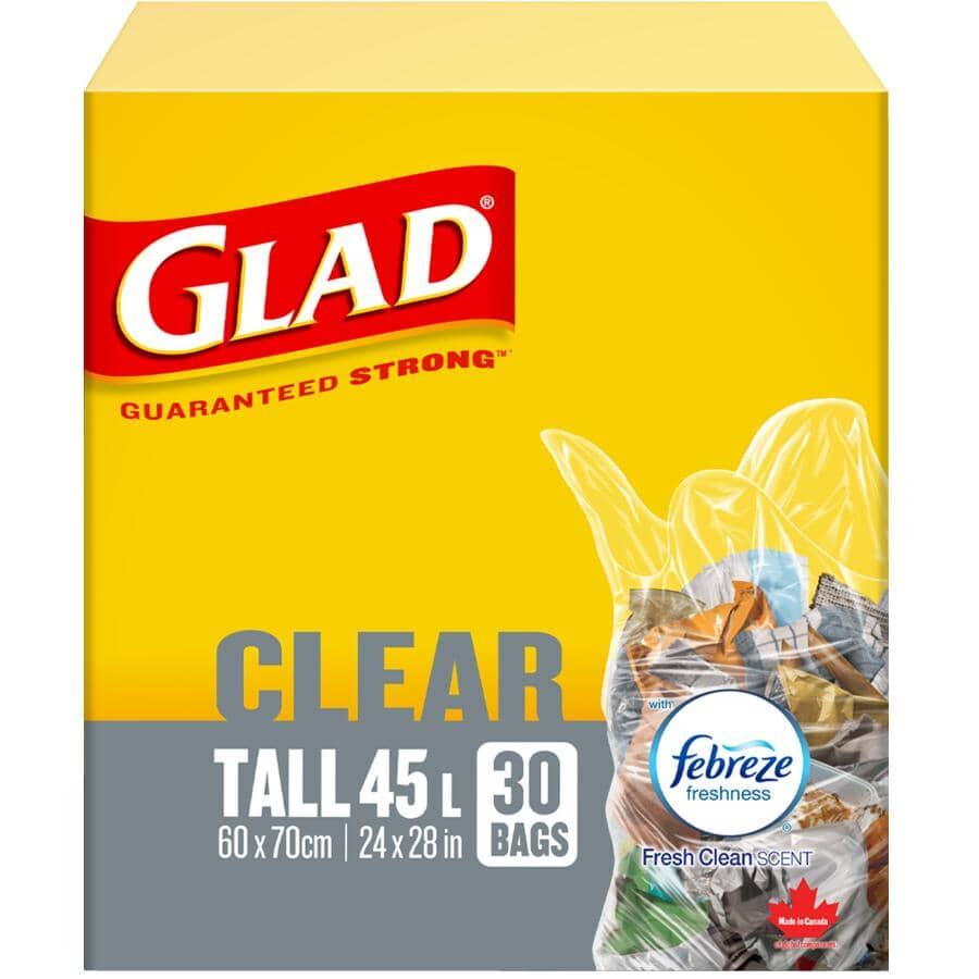 """GLAD:24"""" x 28"""" Tall Clear Febreze Fresh Scent Garbage Bags - 30 Pack"""