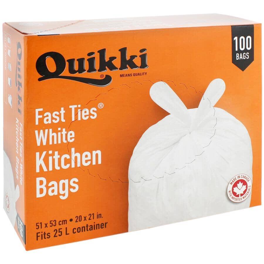 QUIKKI:Paquet de 100 sacs à ordures Handy Tie de 20 po x 21 po, blanc