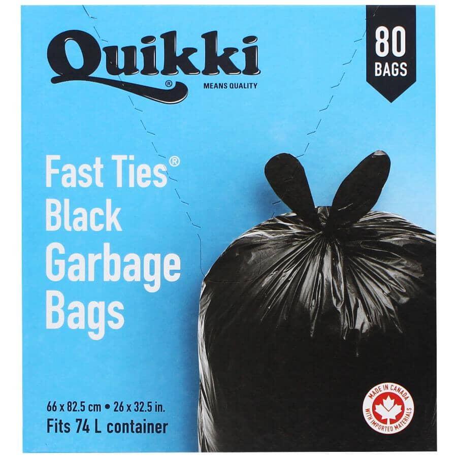 QUIKKI:Paquet de 80 sacs à ordures Handy Tie de 26 po x 32,5 po, noir