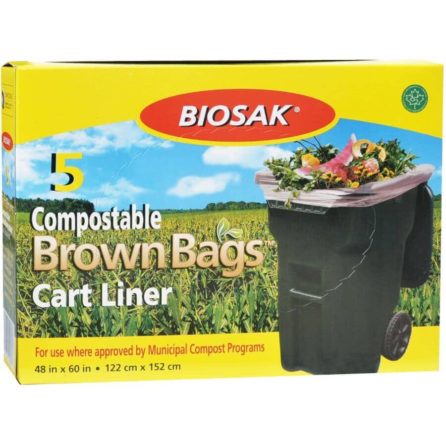 "BIOSAK:Compostable Brown Bags - 5 Pack, 48"" x 60"""