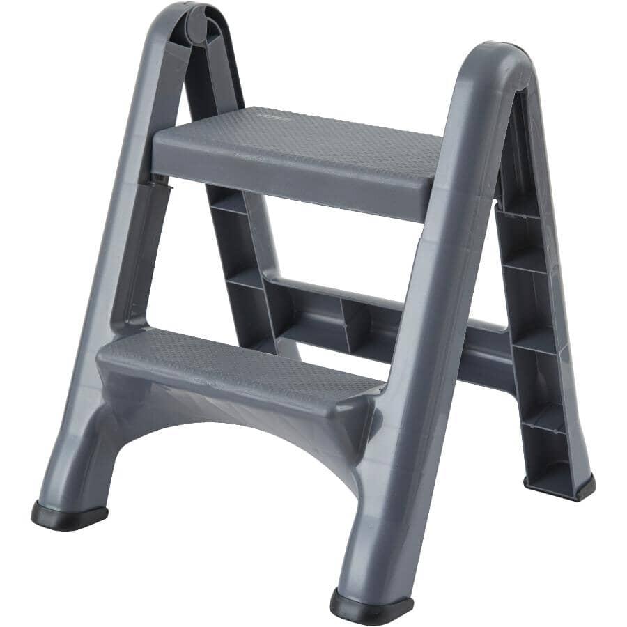 RUBBERMAID:2-Step Dark Grey Folding Step Stool