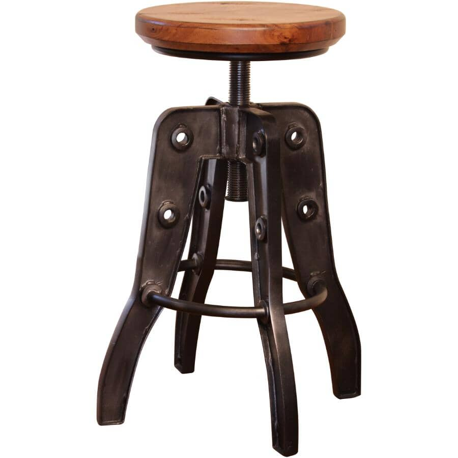 "IFD INTERNATIONAL FURNITURE DIRECT:24"" - 30""Adjustable Bar Stool, with Wood Seat"
