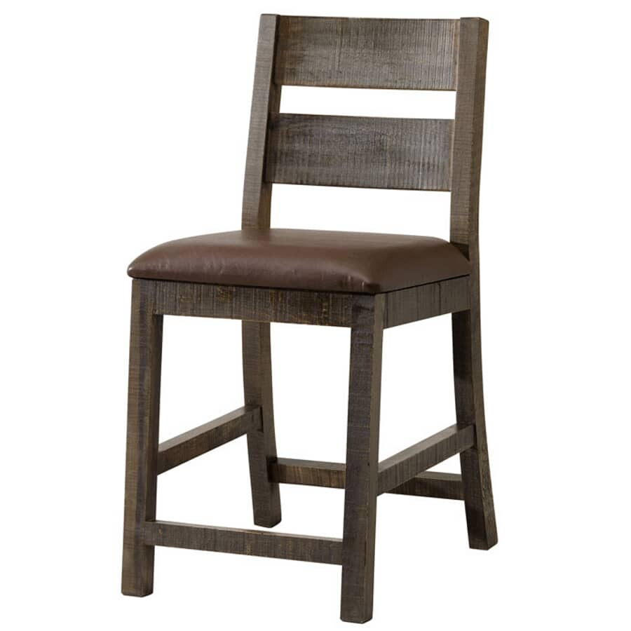 """IFD INTERNATIONAL FURNITURE DIRECT:24"""" Multicolour Finish Wood Bar Stool, with Brown Leather Seat"""