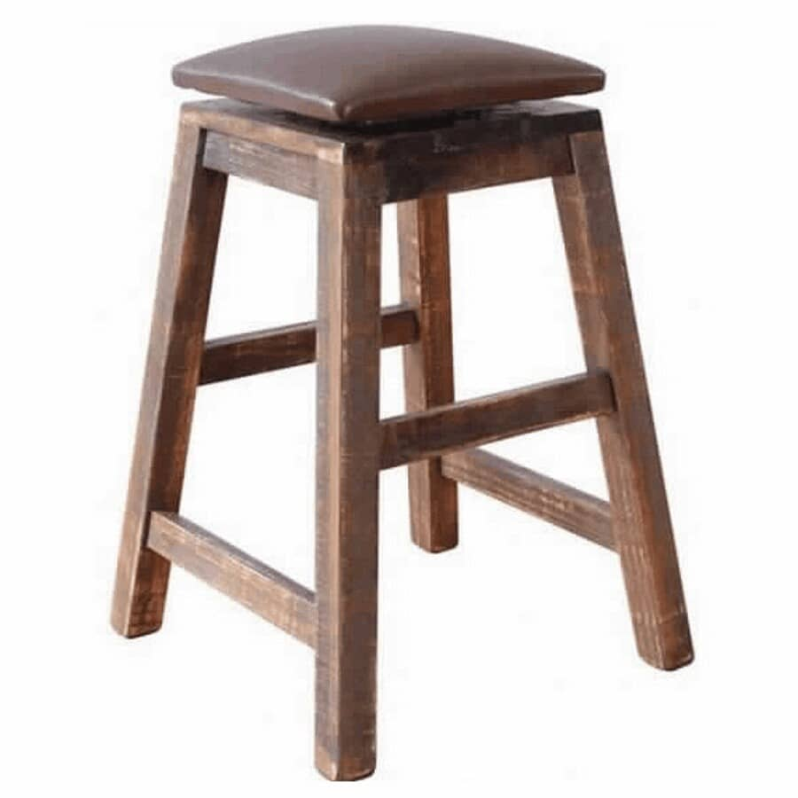 """IFD INTERNATIONAL FURNITURE DIRECT:24"""" Multi-Coloured Swivel Bar Stool, with Leather Seat"""