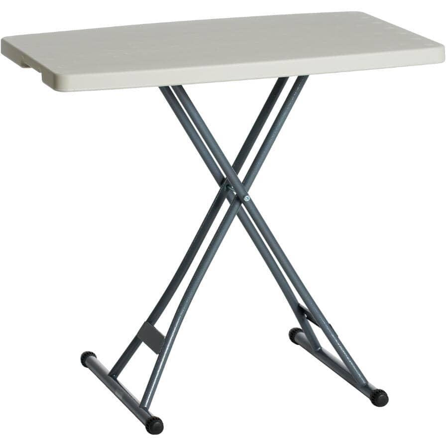 "ENDURO:20"" x 30"" White Plastic Adjustable Rectangular Folding Table"