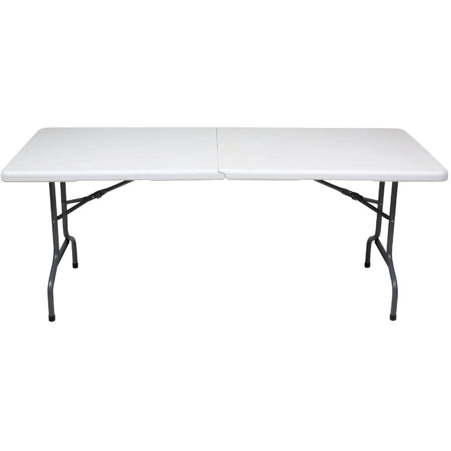"""ENDURO:72"""" x 30"""" White Deluxe Plastic Rectangular Centerfolding Table"""