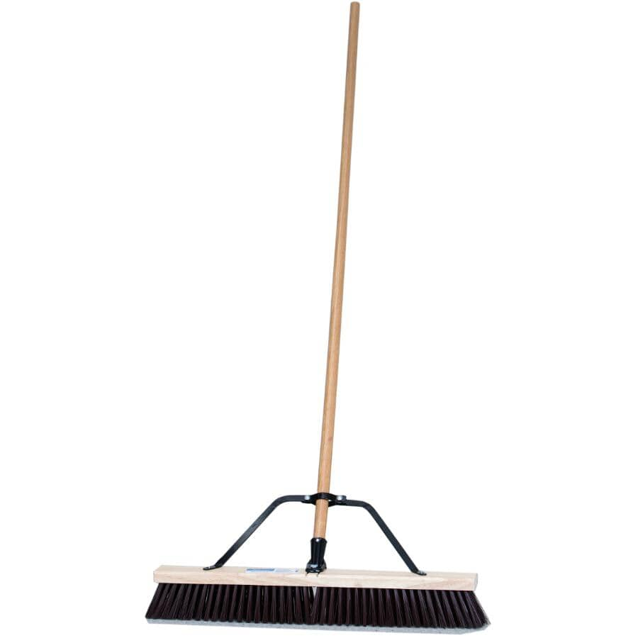 """PROFESSIONAL:24"""" Contractor Stiff Push Broom - with 60"""" Handle"""