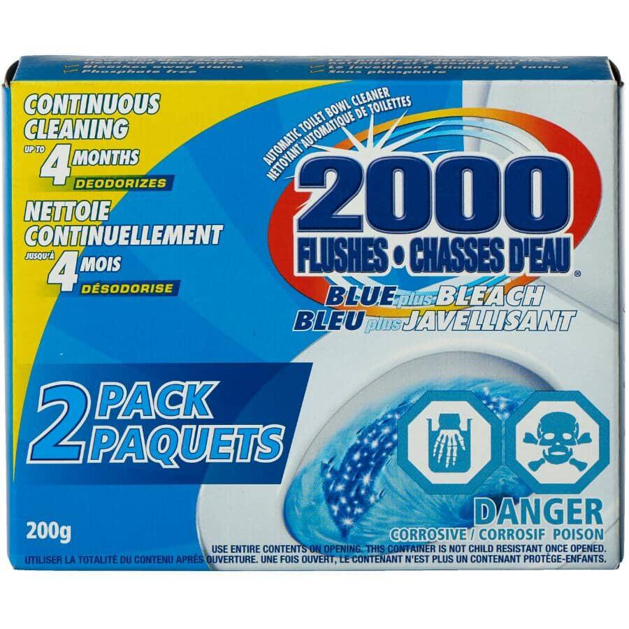 2000 FLUSHES:Paquet de 2 nettoyants pour cuvette avec bleu et javellisant