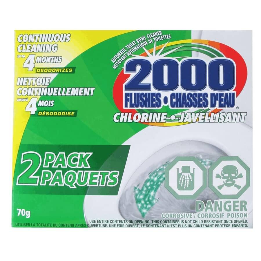 2000 FLUSHES:Paquet de 2 nettoyants à cuvette avec javellisant
