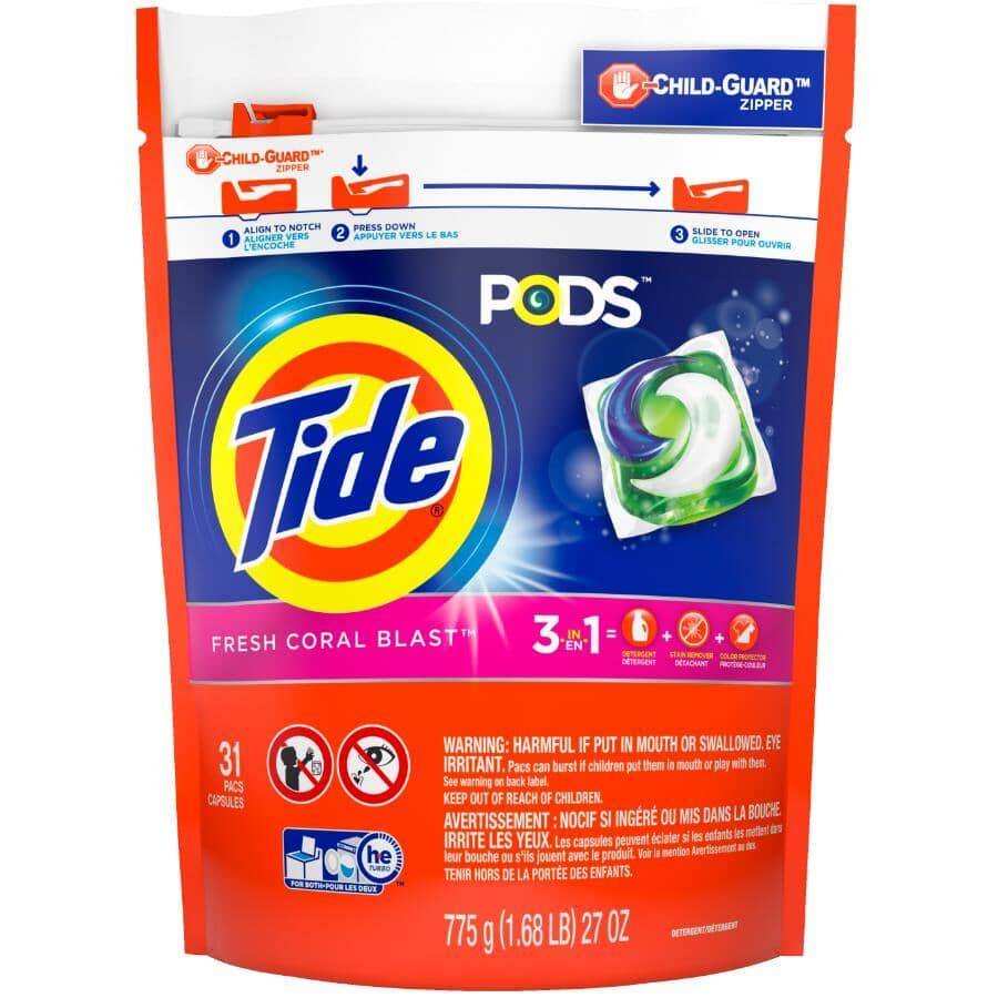 TIDE:31 Pack Fresh Coral Blast PODS Laundry Detergent