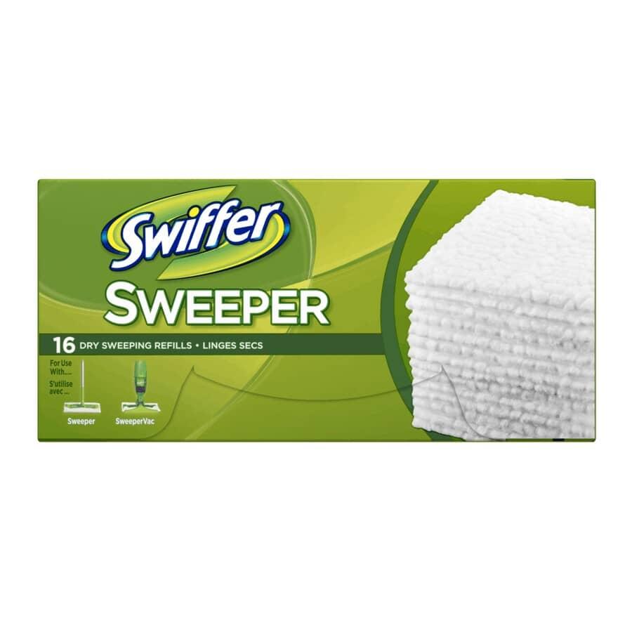 SWIFFER:Paquet de 16 recharges de linges secs pour plancher