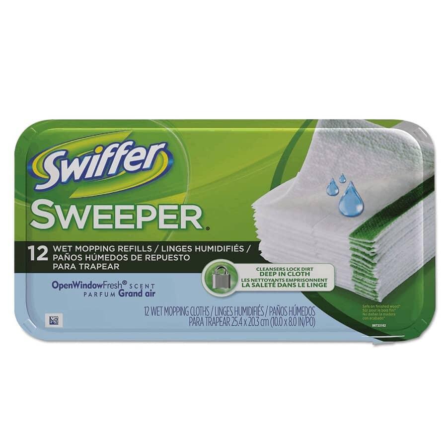 SWIFFER:Paquet de 12 linges humidifiés pour vadrouille, parfum grand air