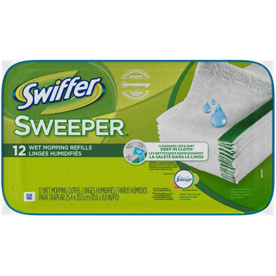 SWIFFER:Paquet de 12 linges humidifiés pour vadrouille, parfum agrumes