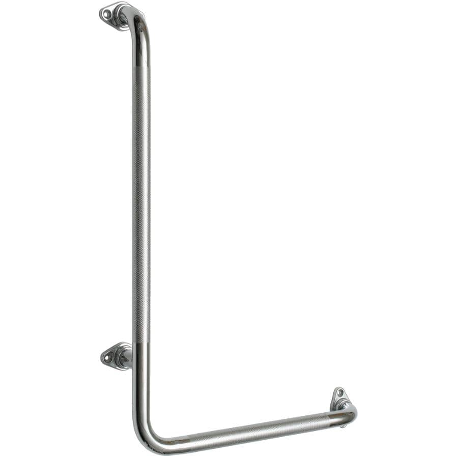 """ELCOMA:16"""" x 24"""" 90 Degree Right Hand Chrome Safety Grab Bar"""