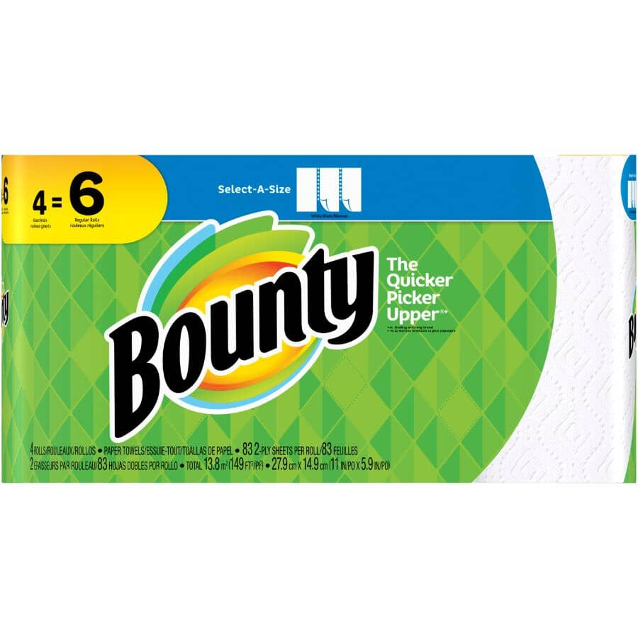 BOUNTY:2 Ply Regular Paper Towels - Select-A-Size, 4 Pack